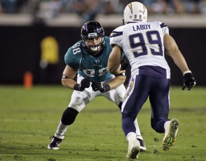 San Diego Chargers linebacker Travis LaBoy is Octagon Football agent C.J. Laboy's brother and client.