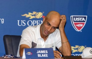 James Blake (USA) at his press conference to announce that the 2013 US Open will be his last tournament on day one of the 2013 US Open at the Billie Jean King National Tennis Center. Mandatory Credit: Susan Mullane-USA TODAY Sports