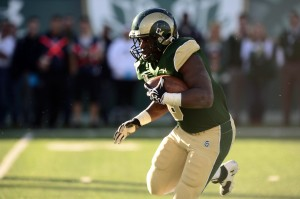 Colorado State Rams running back Chris Nwoke (6) carries in the fourth quarter against the Air Force Falcons at Hughes Stadium. The Rams defeated the Falcons 58-0. Mandatory Credit: Ron Chenoy-USA TODAY Sports