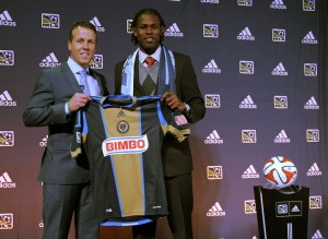 Andre Blake (Connecticut) poses for a photo after being selected as the number one overall pick in the first round to the Philadelphia Union in the 2014 MLS Superdraft at Philadelphia Convention Center. Mandatory Credit: Stephanie Greene-USA TODAY Sports