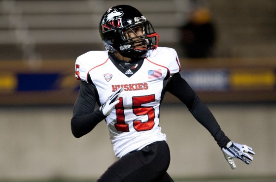 Northern Illinois Huskies safety Jimmie Ward (15) warms up before the game against the Toledo Rockets at Glass Bowl. Mandatory Credit: Raj Mehta-USA TODAY Sports