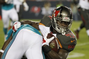 Tampa Bay Buccaneers running back Bobby Rainey (43) runs with the ball during the second quarter against the Miami Dolphins at Raymond James Stadium. Mandatory Credit: Kim Klement-USA TODAY Sports