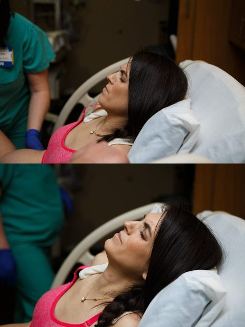 Mother laboring through a contraction on a hospital bed.