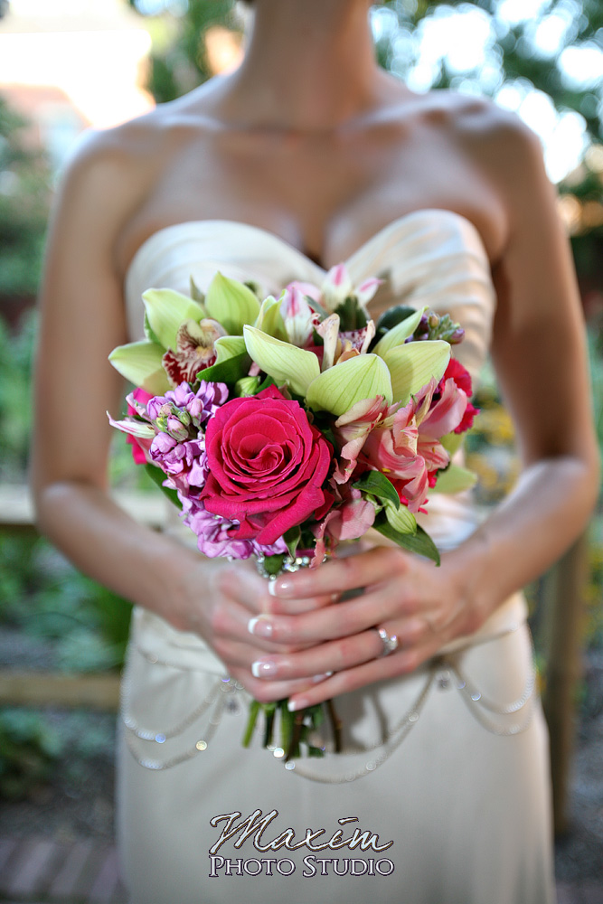 Bride holding her flowers on wedding day