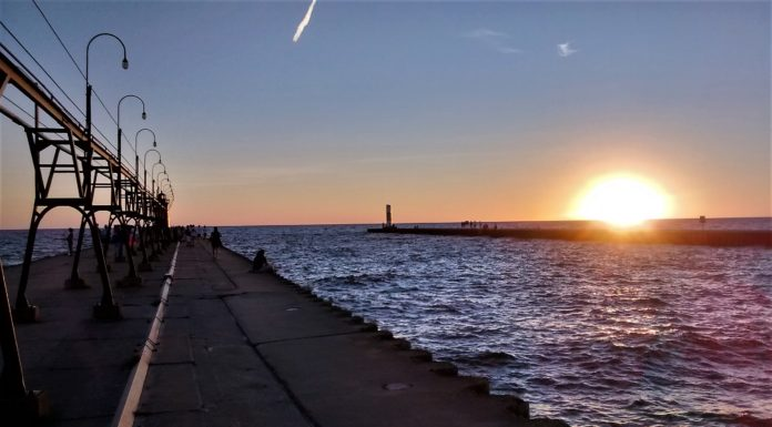 Sunset in South Haven on Lake Michigan in July