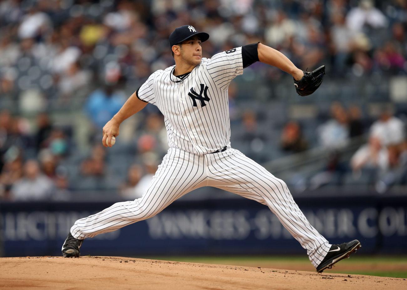 Oct 2, 2016; Bronx, NY, USA; New York Yankees starting pitcher Luis Cessa (85) throws during the first inning against the Baltimore Orioles at Yankee Stadium. Mandatory Credit: Danny Wild-USA TODAY Sports