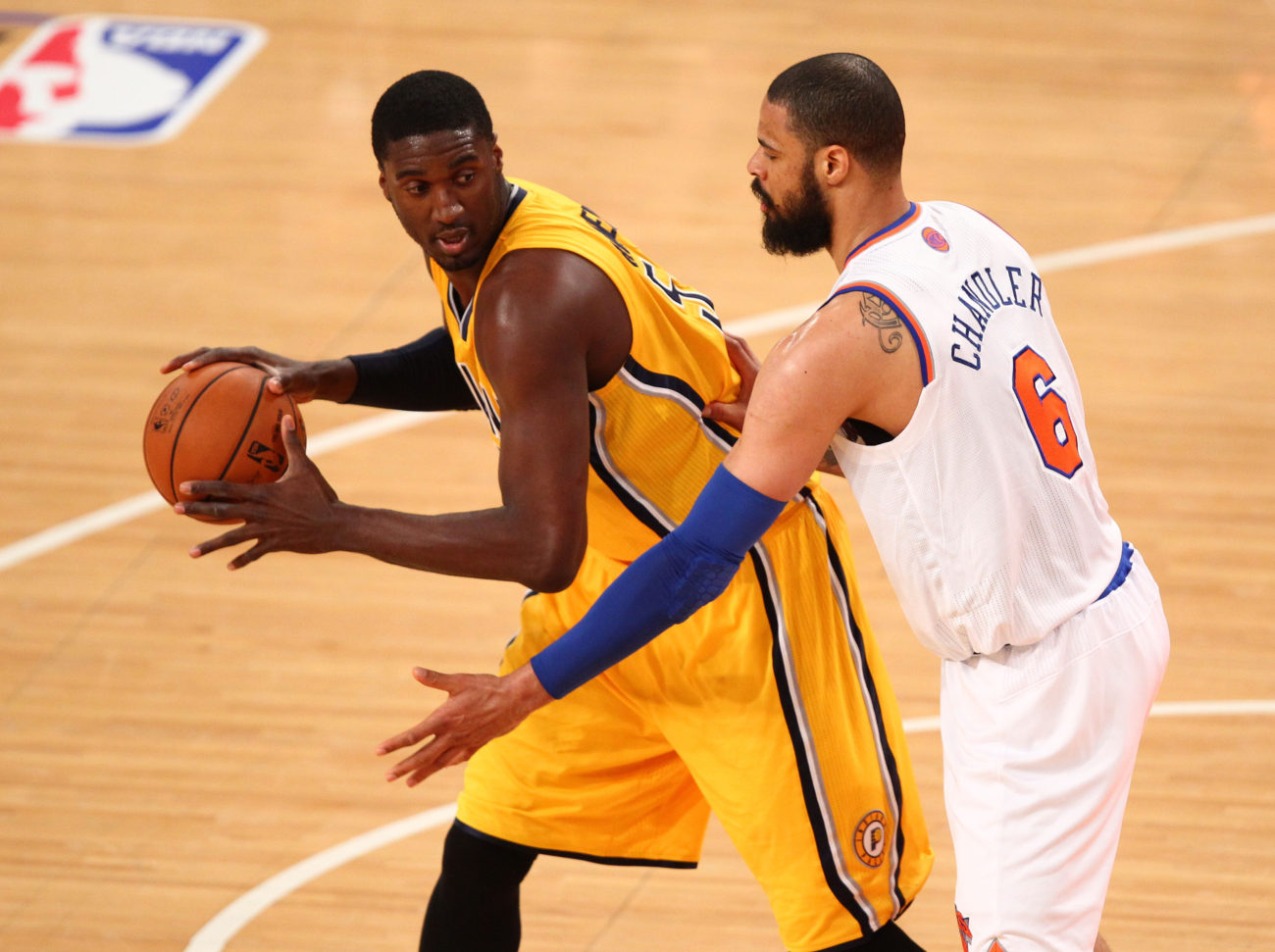 May 5, 2013; New York, NY, USA; Indiana Pacers center Roy Hibbert (55) is defended by New York Knicks center Tyson Chandler (6) during the first half at Madison Square Garden. Mandatory Credit: Danny Wild-USA TODAY Sports