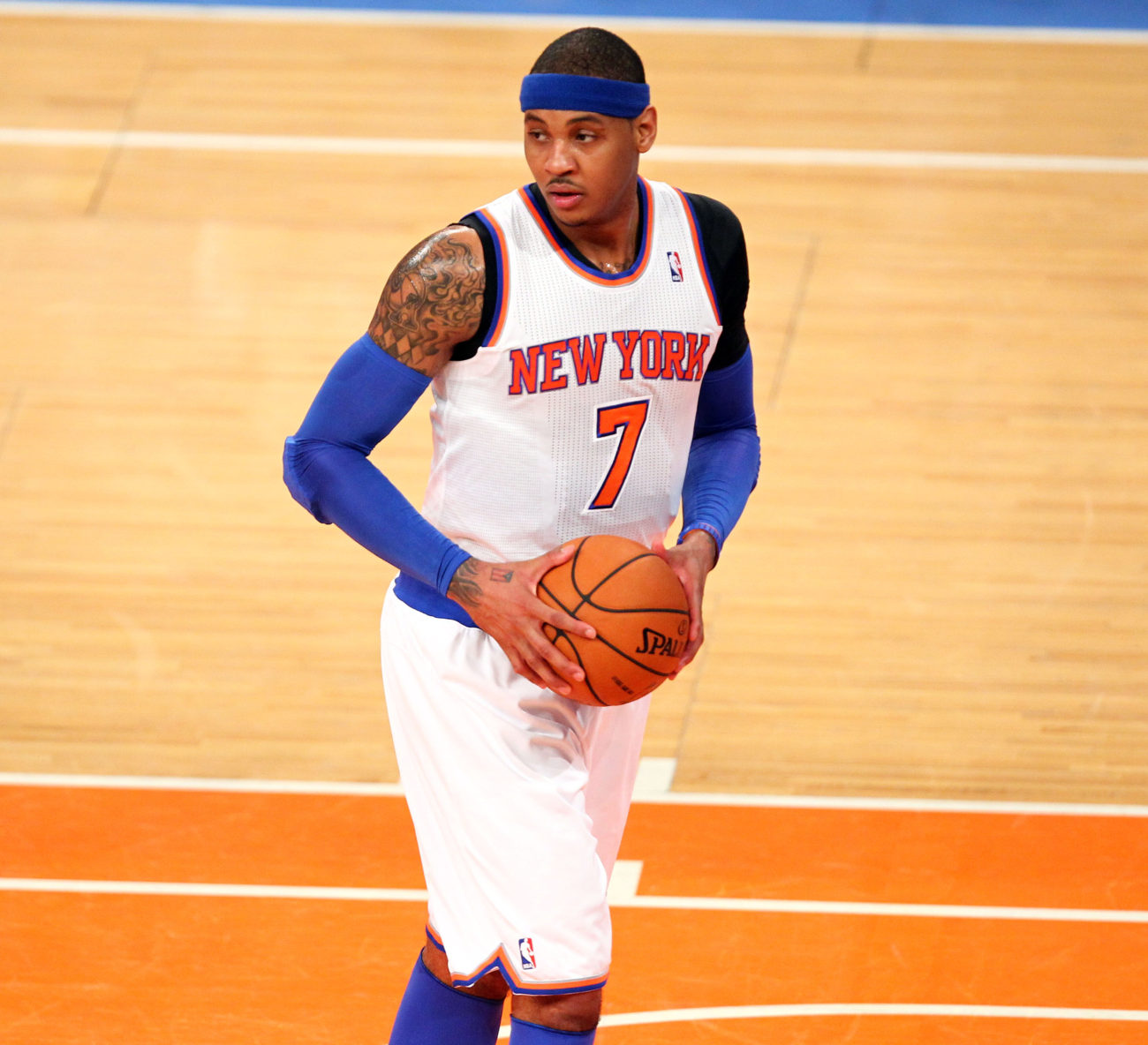 May 5, 2013; New York, NY, USA; New York Knicks forward Carmelo Anthony (7) carries the ball during the first half at Madison Square Garden. Mandatory Credit: Danny Wild-USA TODAY Sports