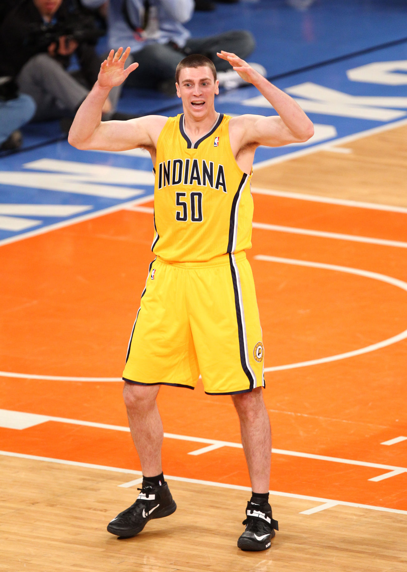 May 5, 2013; New York, NY, USA; Indiana Pacers forward Tyler Hansbrough (50) reacts to a call by the referee during the second half at Madison Square Garden. Mandatory Credit: Danny Wild-USA TODAY Sports