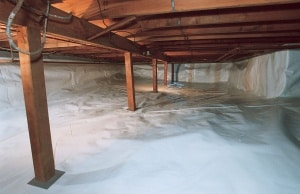 Vapor Barrier installed in a crawl space