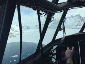 "NASA's ""Operation Icebridge,"" flying over a glacier at 1500 feet."