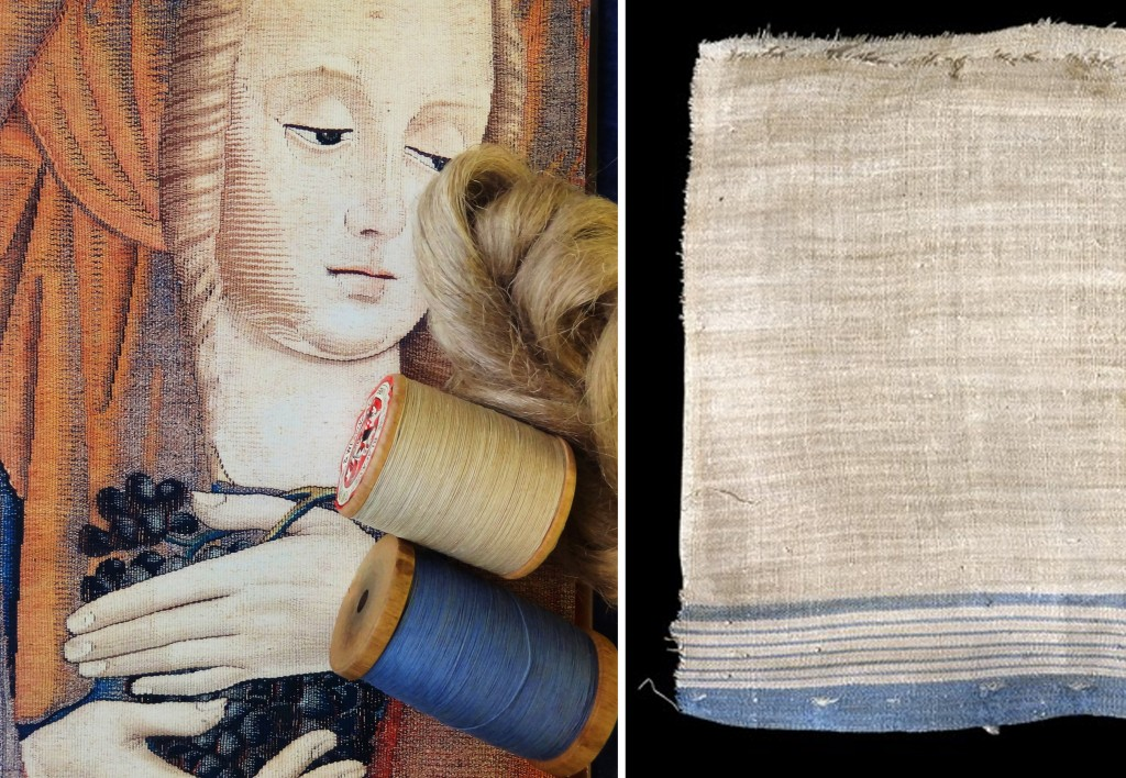 Left: A Medieval tapestry woven on linen warp. Right: An ancient linen shroud