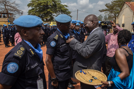 Over 430 Rwandan Police peacekeepers in CAR decorated with UN service medal
