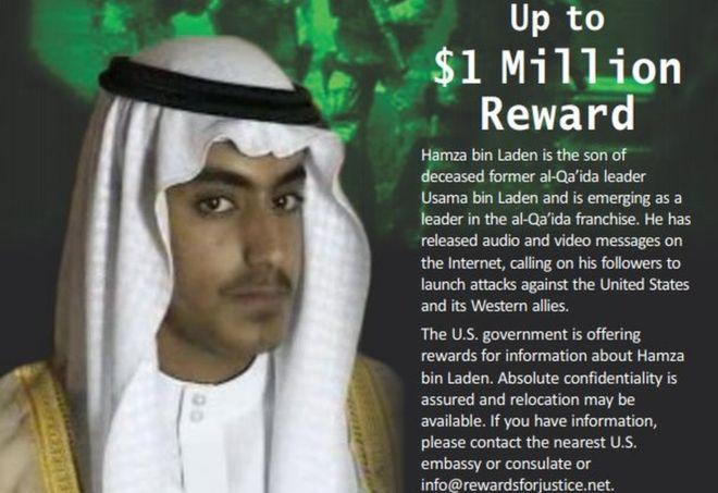 Bin Laden: US offers reward for Osama's son Hamza
