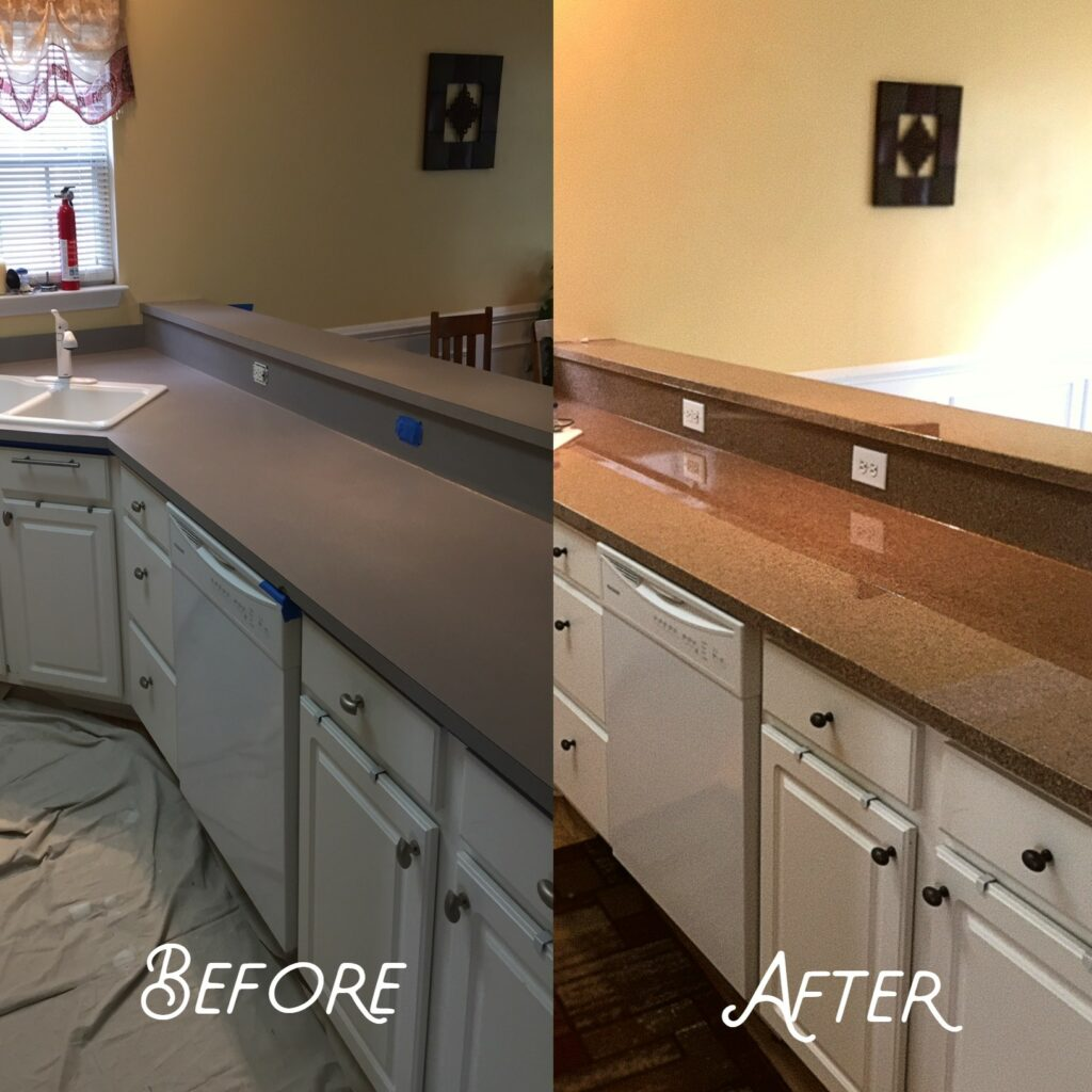Refinished old countertop using new high-gloss pour-on epoxy