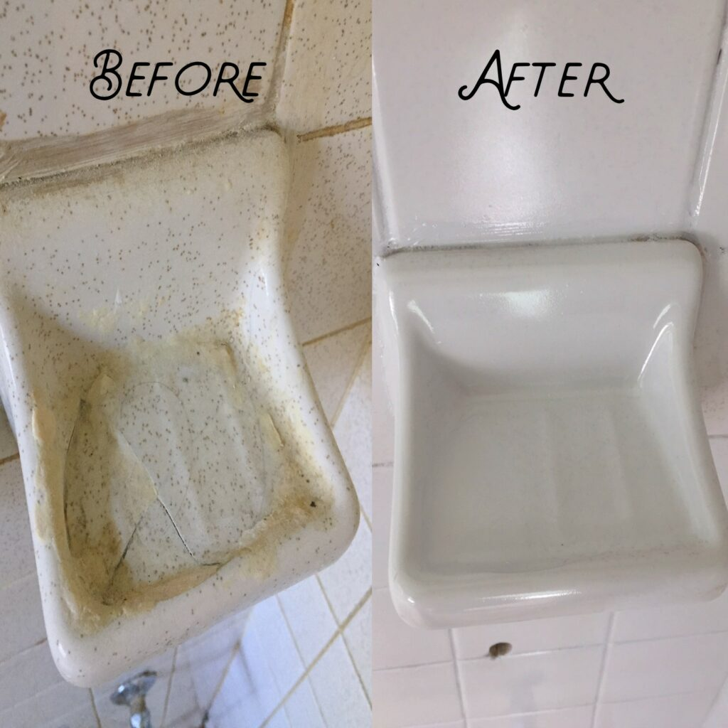 Cracked soap dish repaired and resurfaced to brand-new quality