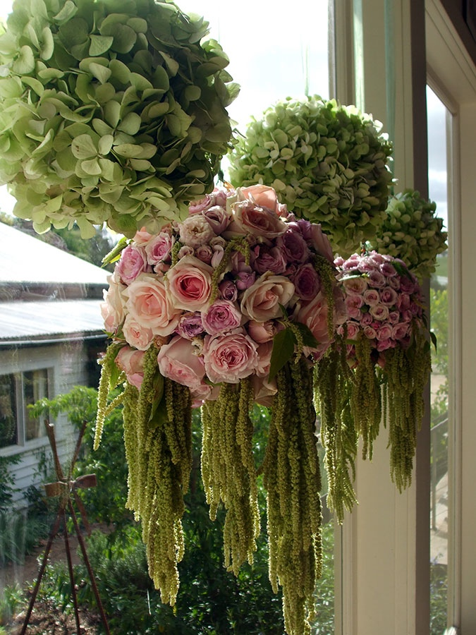 Hydrangea and Rose Window Display