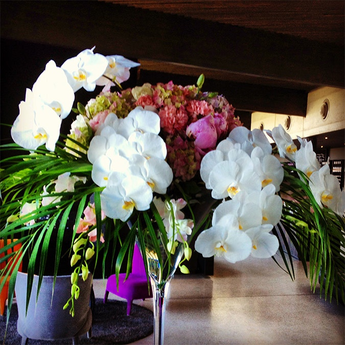 Event Flowers in a Martini Glass at Port Phillip Estate