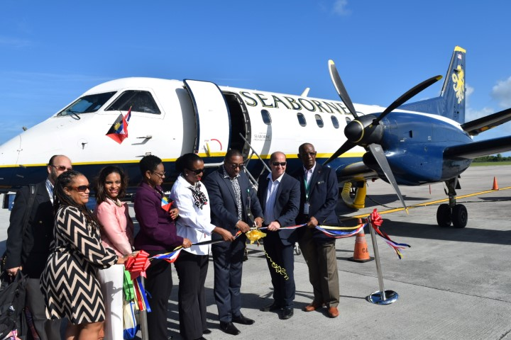 Tourism and Aviation officials celebrate the launch of the Seaborne service to Antigua and Barbuda with Seaborne Officials (Small)