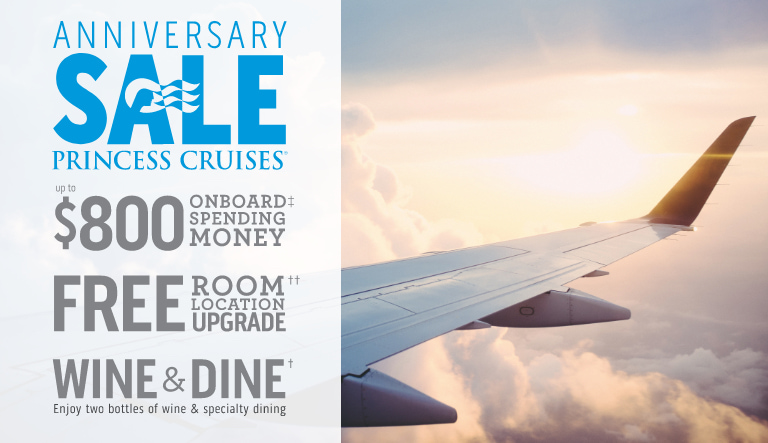 Snag an air deal during the Princess Cruises' Anniversary Sale!