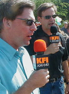 John and Ken, KFI, Los Angeles, who interviewed Vonda Pelto.