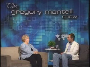 Picture Gregory Mantell TV Show set with Vonda Pelto being interviewed.