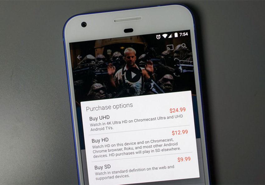Google Play ya vende películas 4K