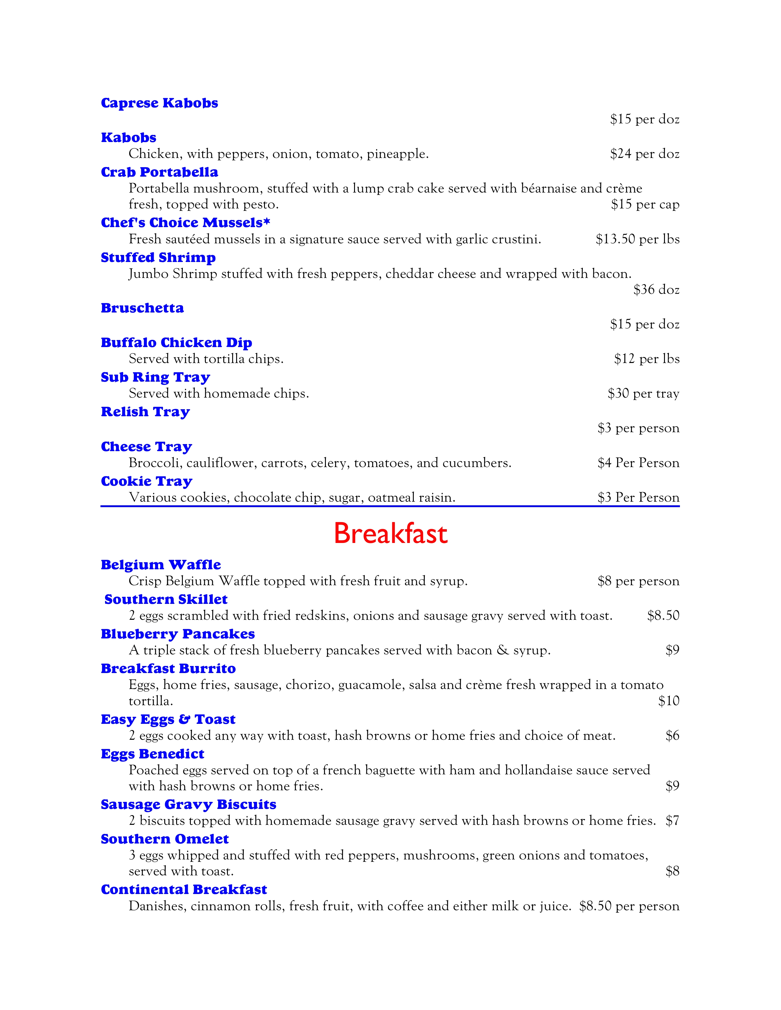 Banquet Apps, Breakfast 2