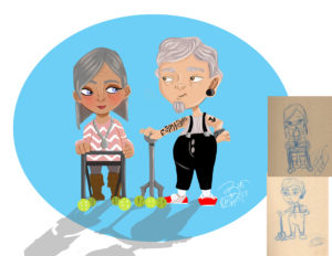 Hipster Grandparents: Digital with Thumbnail Sketch