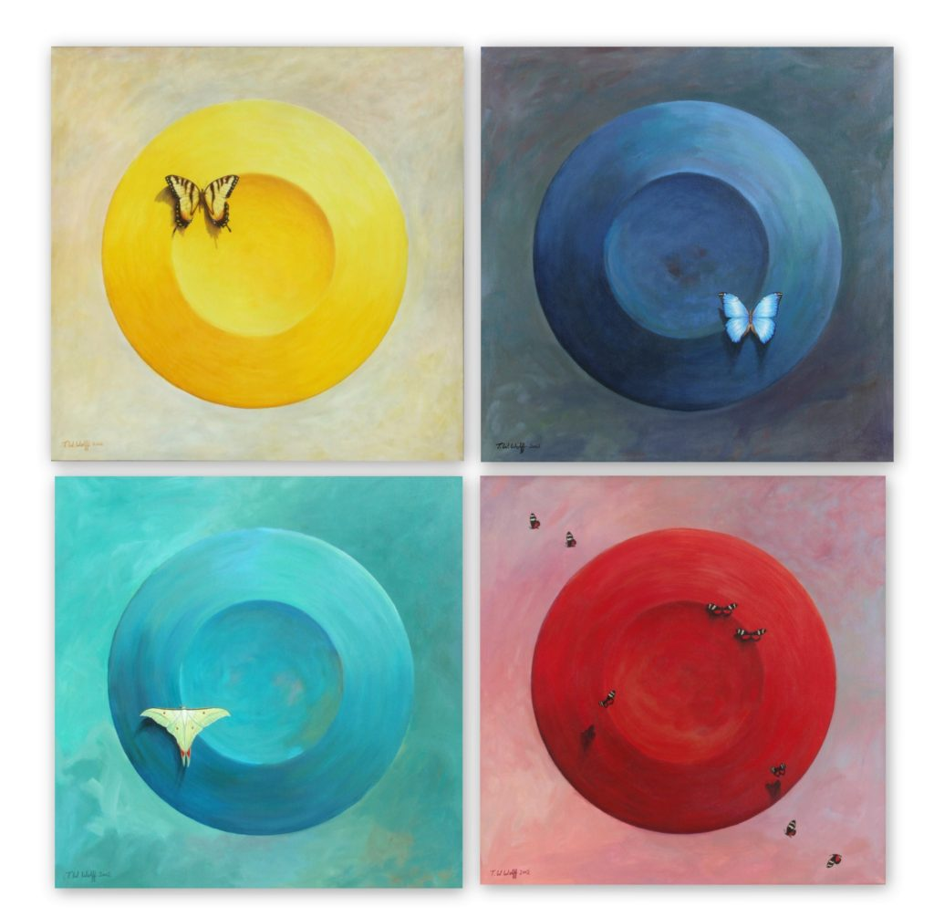 "Morning, Noon, Evening, Night 36"" x 36"" each Acrylic on canvas"