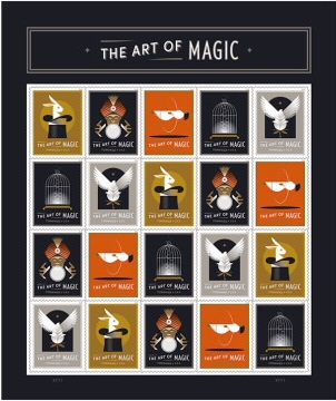 The stamps feature illustrations of five classic illusions: a rabbit in a top hat (production), a fortune teller using a crystal ball (prediction), a woman floating in the air (levitation), an empty bird cage (vanish), and a bird emerging from a flower (transformation).
