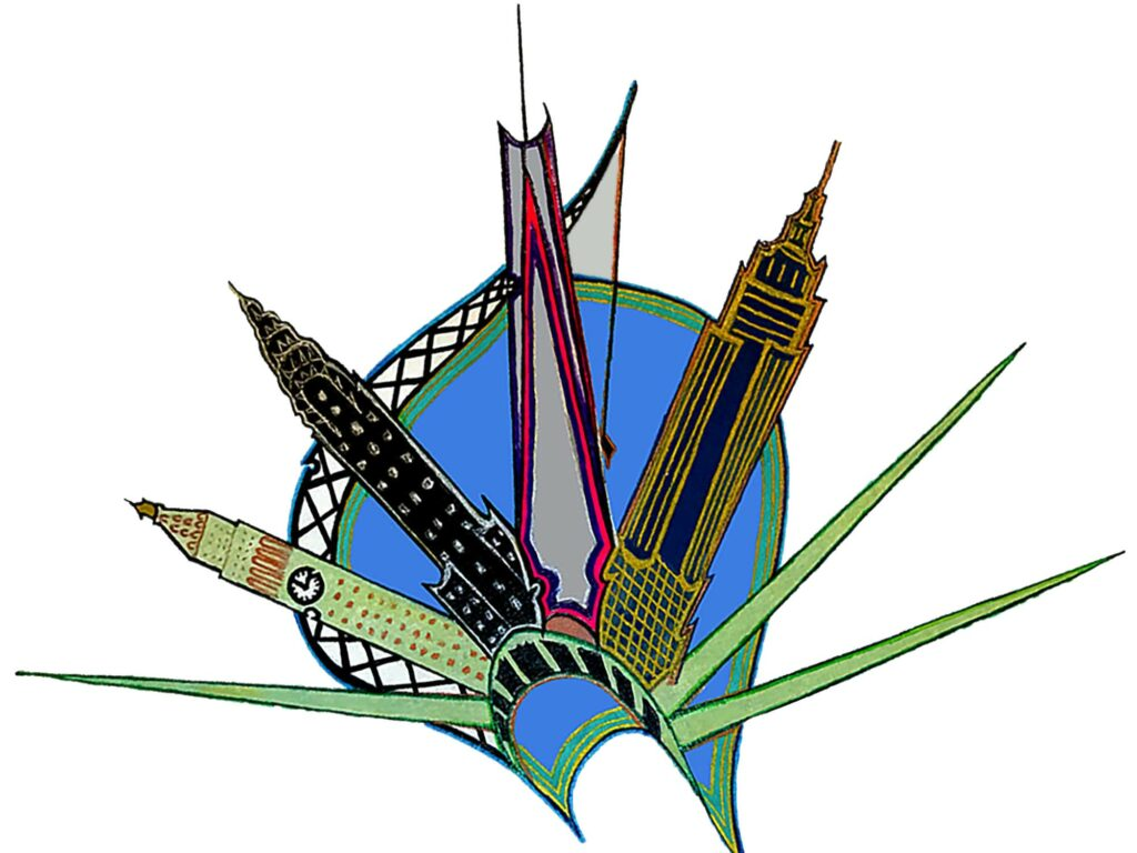 Real Estate Icon [2014]; Part of a much larger top secret work the artist has been working on for years, this visual pun finds a large crane placing four NYC icons atop Lady Liberty's crown.