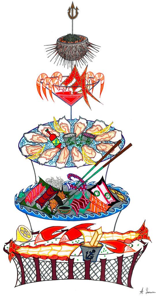 """Seafood Tower [2019]: A sequel to the """"Caviar Oyster,"""" this lavish tower, topped with Poseidon's trident, is exactly what the King of the Sea would serve at his table. This practically mythological ocean delight is composed of: lobster tails soaked in butter; tuna, salmon, & eel nigiri, octopus, yellowtail with jalapeno, king salmon, & toro sashimi surrounded by the ocean; a divine oyster platter with all the necessary sauces, shrimp & glamorous crab leg cocktail; and sea urchin filled with caviar."""