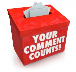 Your Comment Counts words on a red suggestion box to illustrate