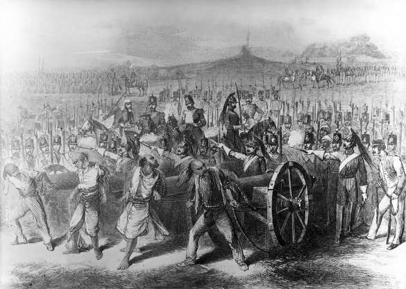 The execution of the rebels by cannons.