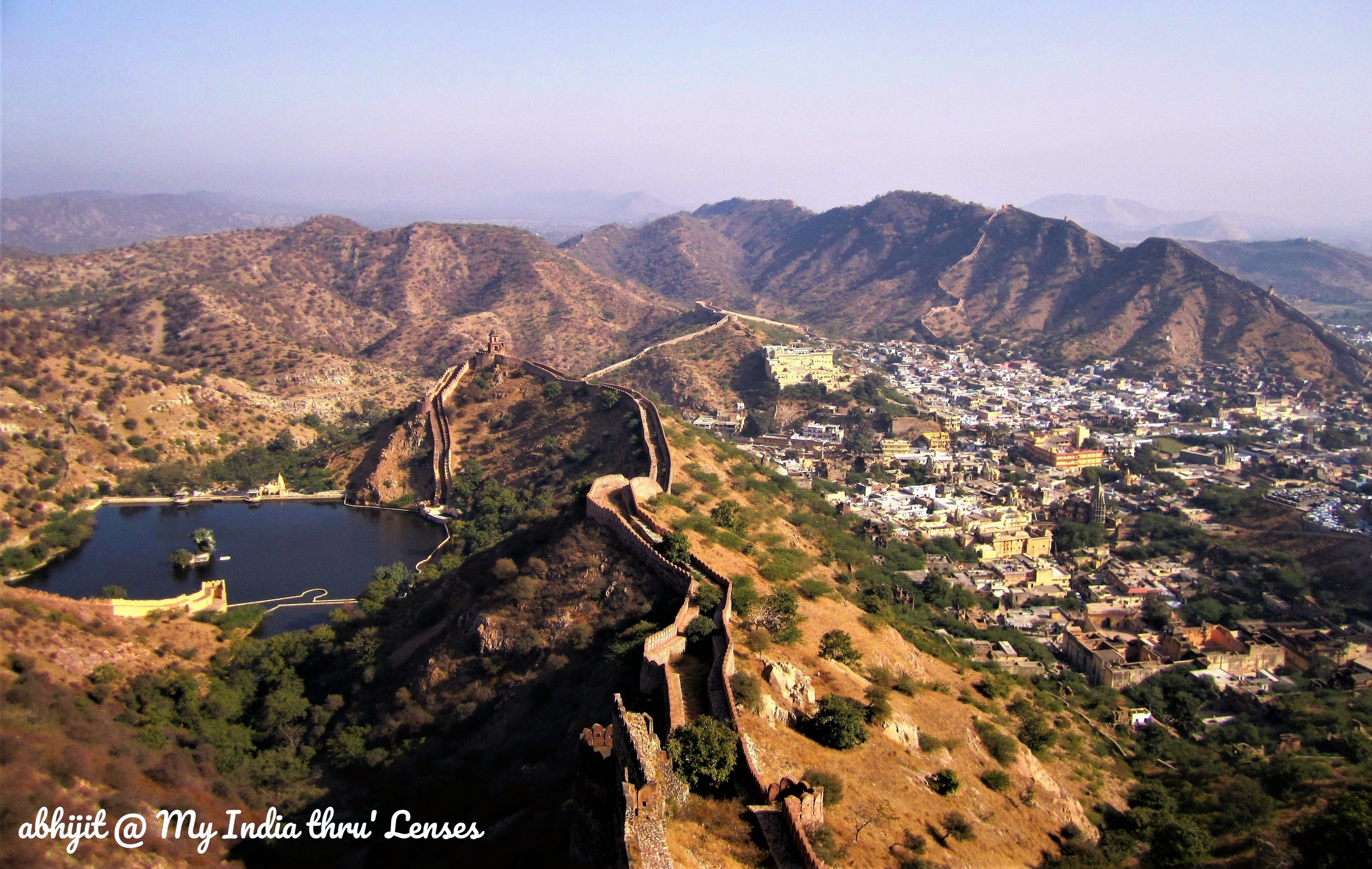 View of Aravalli hills and the fortifications from the top of Jaigarh Fort