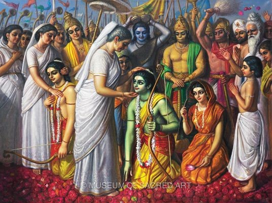 Rama after returning to his kingdom Ayodhya with Sita and Lakshman (PC - Pinterest)