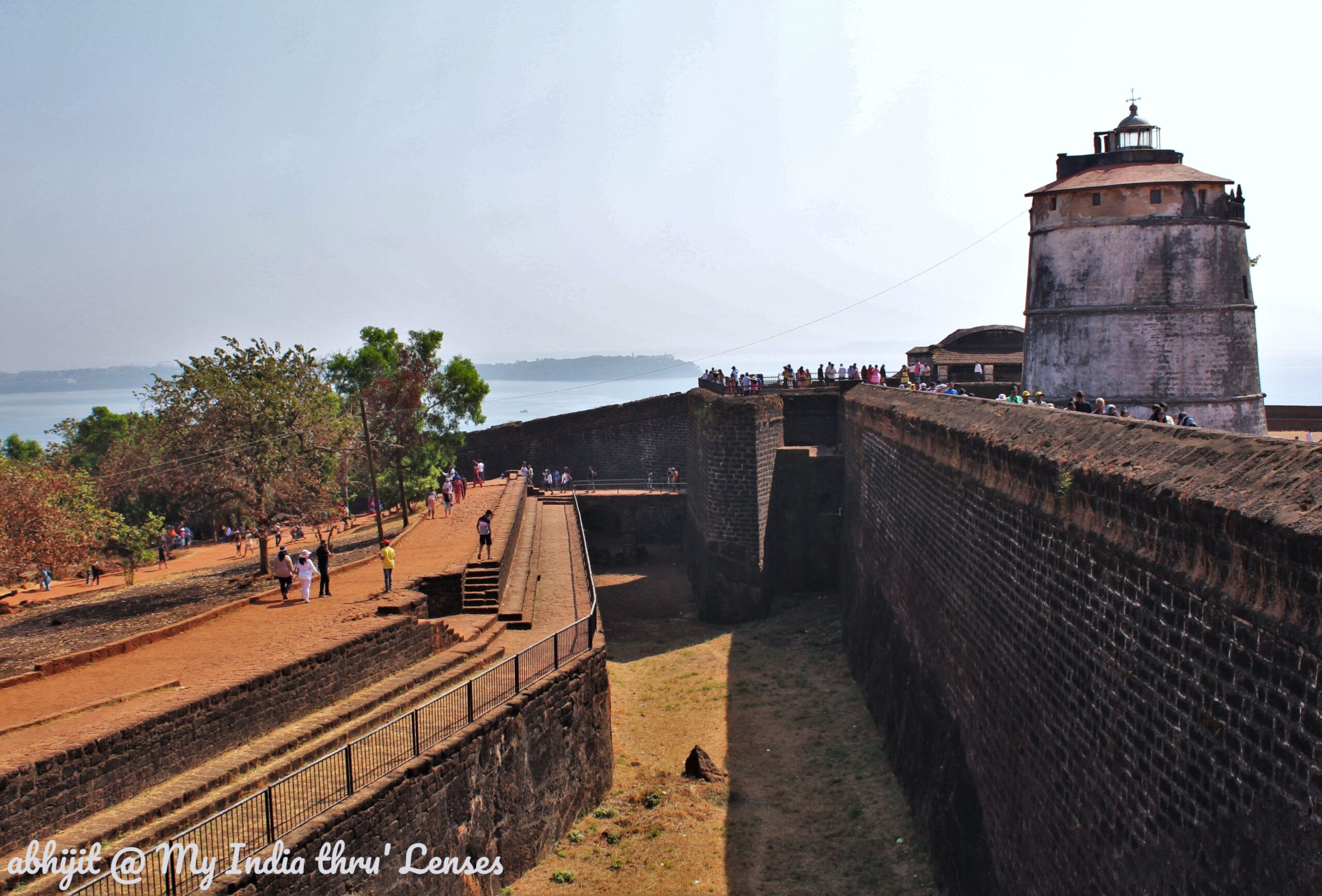 The dry moat at the entrance of the Aguada Fort