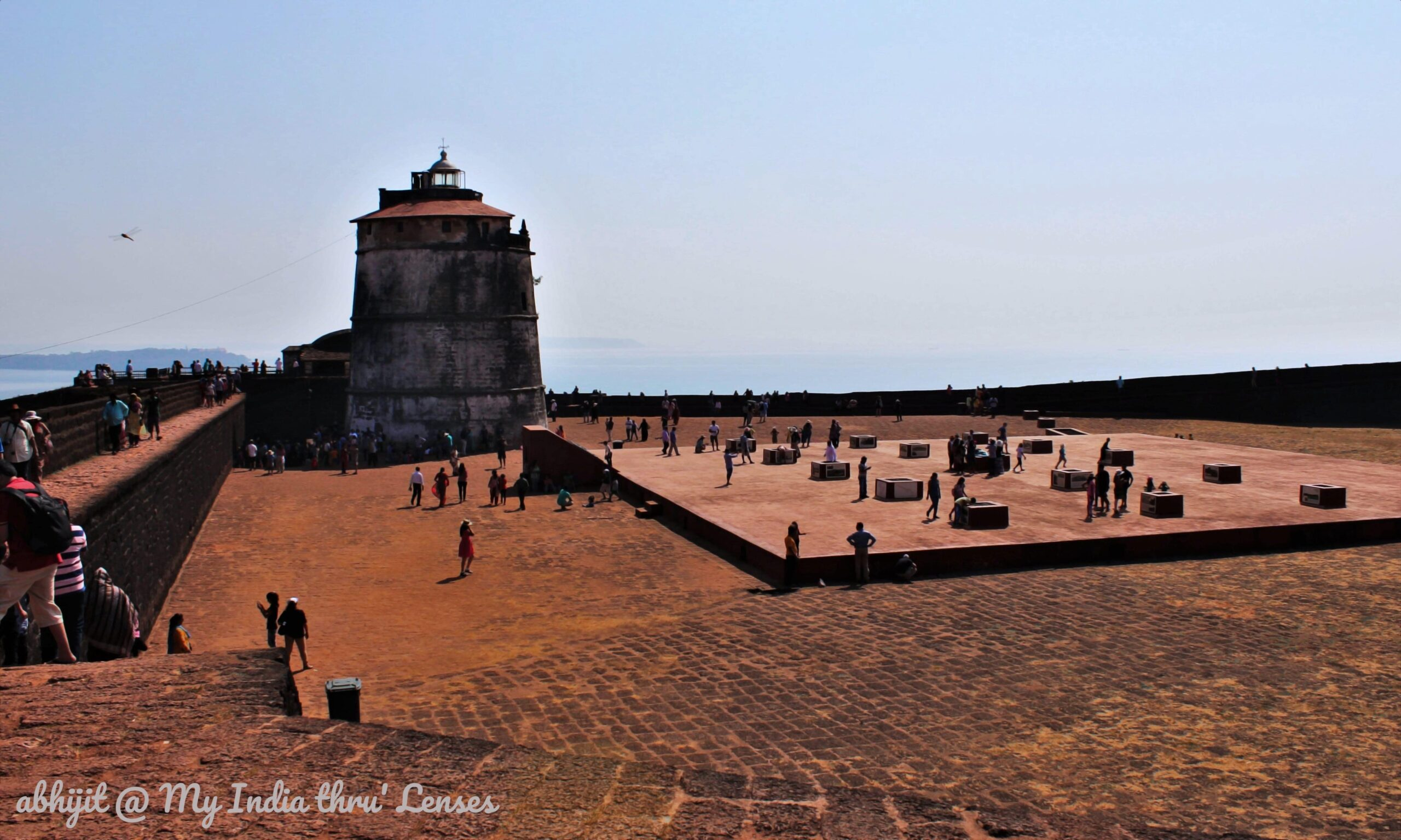 The Aguada lighthouse located at one of the corners of the open area