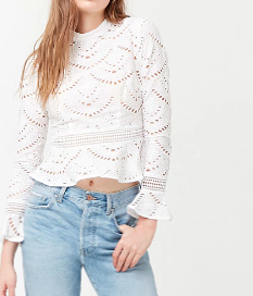 Forever 21 Sheer Embroidered Flounce Top