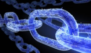 Image of digital chain link to express blockchain