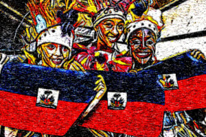 photographic sketch of 3 women holding a Haitian flag