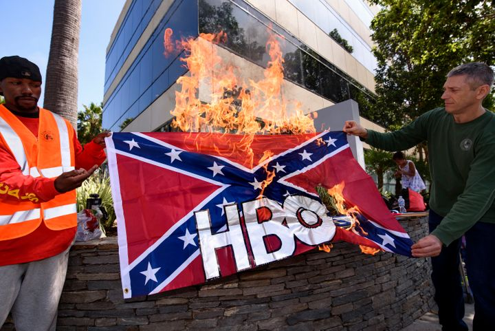 "Protesting HBOs ""Confederate"" show."