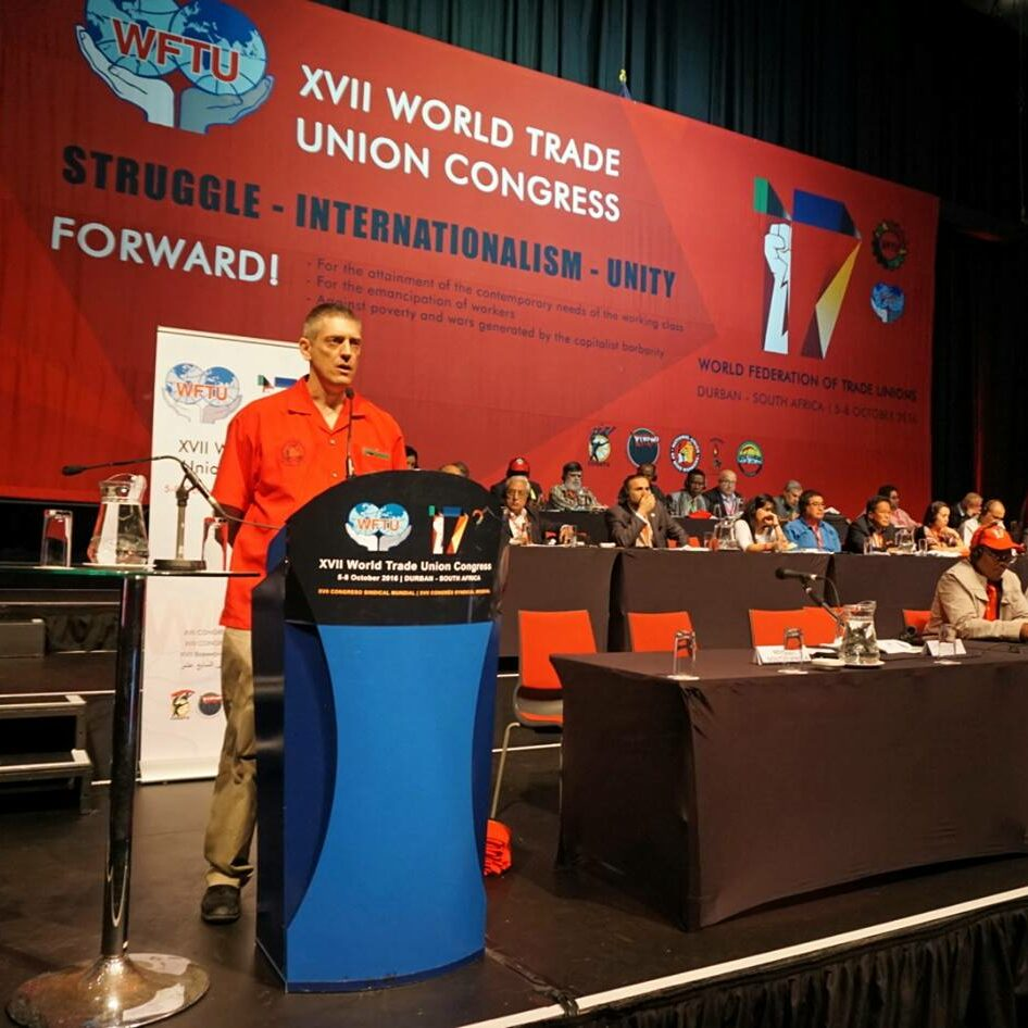 Addressing WFTU Congress