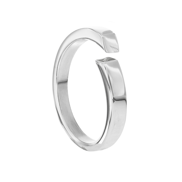 Quantum Cubus White Gold Plated Stainless Steel Ring £17