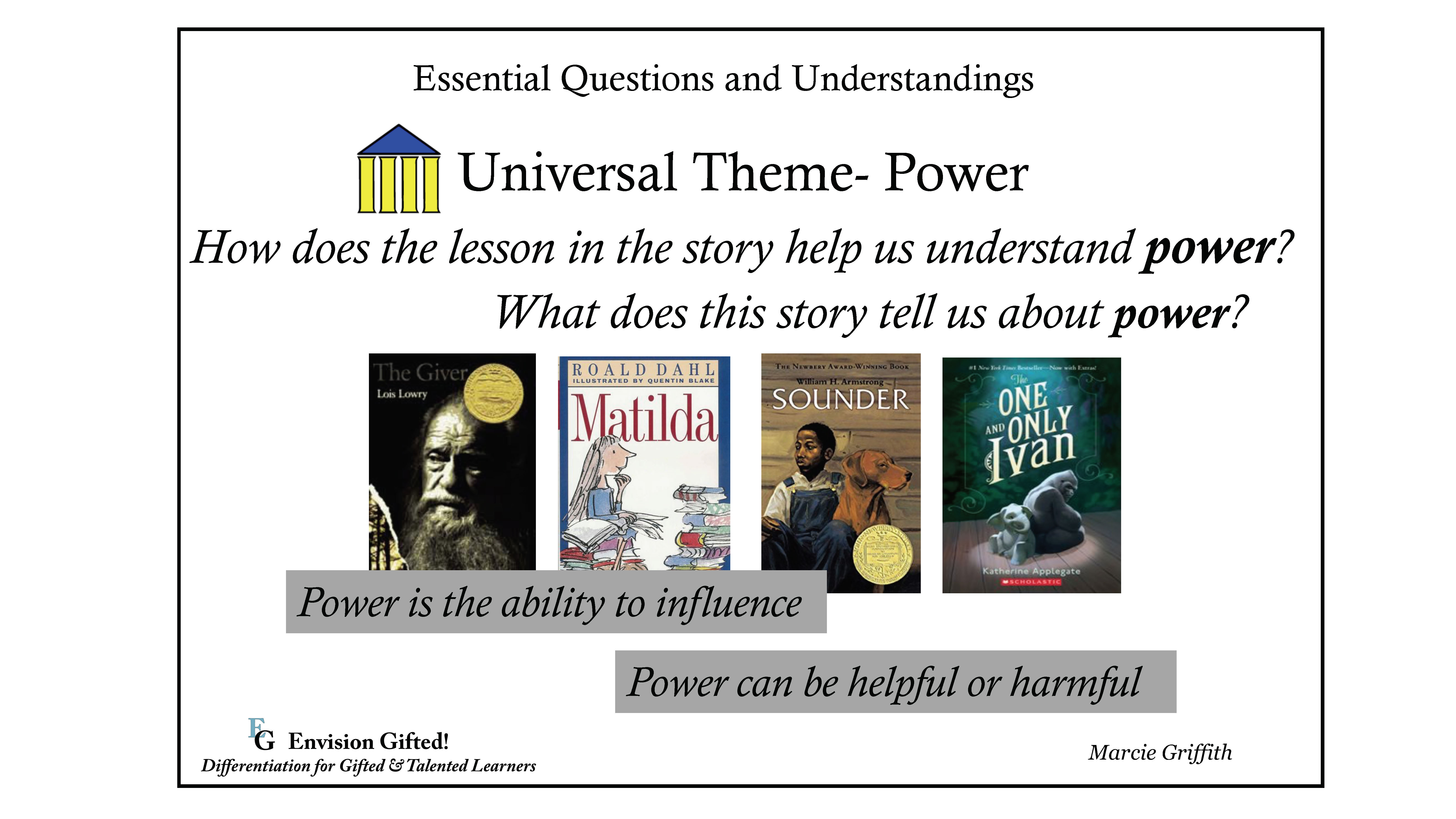 Envision Gifted. Universal Theme Power Essential Questions