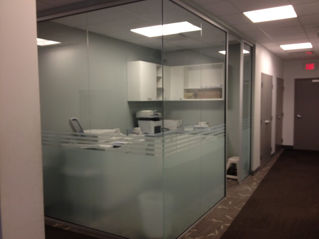 Office walls with privacy etching