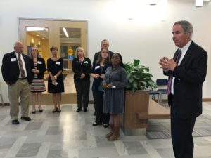 Goodwill Easter Seals Miami Valley CEO & President Lance Detrick starts the facility tour