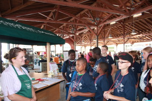 Campers listen to MSUE staff before going on a tour.