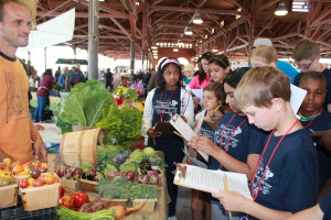 Campers learn from a farmer what really goes into a farm stand.